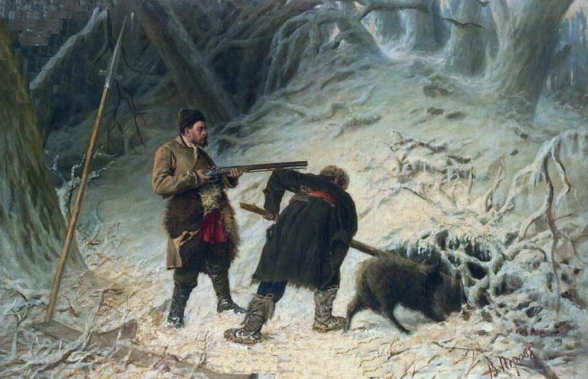 Охота на кабана. Х., м. 93.5x142