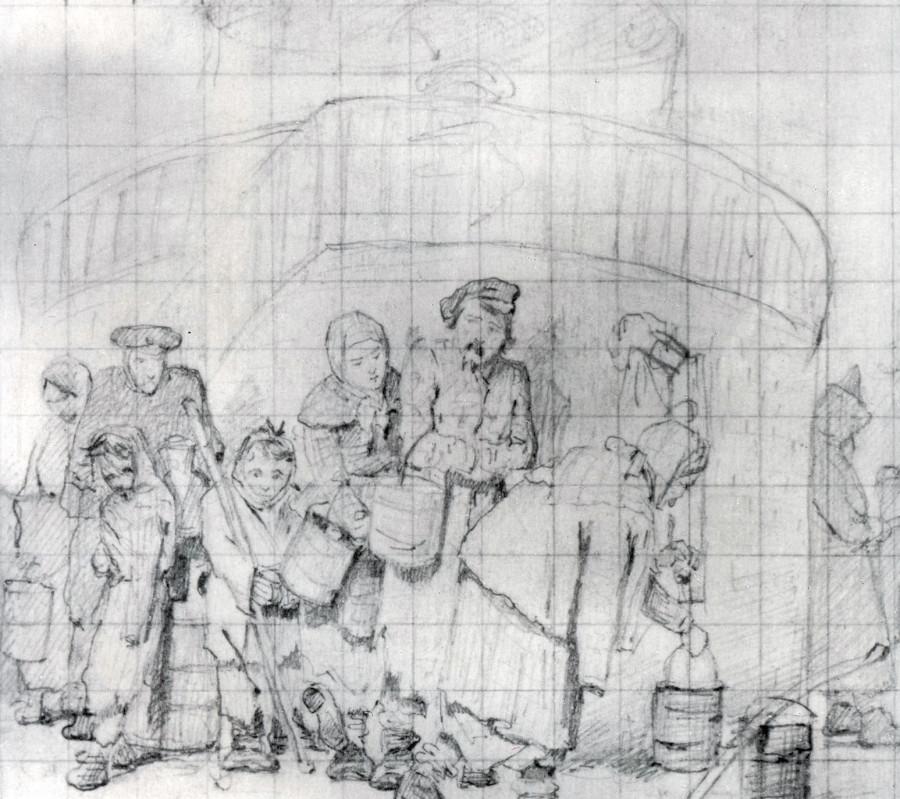 Очередные у бассейна. Эскиз. 1865 Б., гр. к. 10.3х12.3 ГТГ