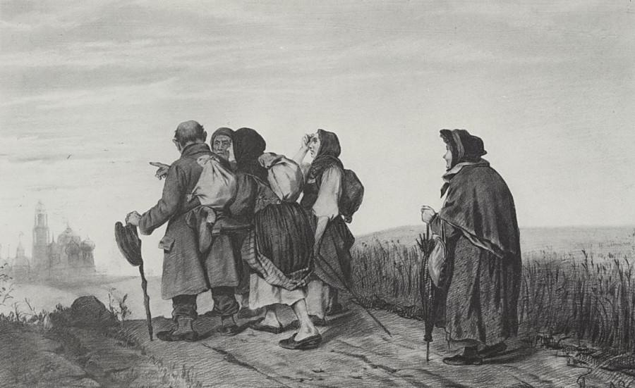 Паломники. На богомолье. 1867 Рис. 31,6х47,3 ГРМ