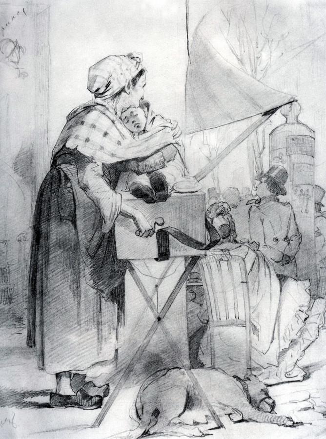 Парижская шарманщица. Эскиз. 1863 Б., гр. к. 27х21,8 ГТГ