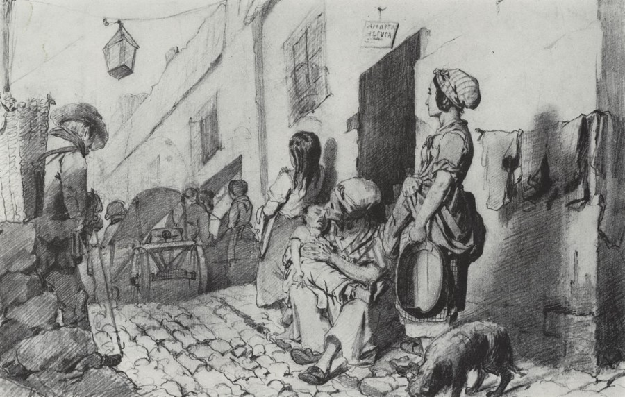 Похороны в бедном квартале Парижа. 1863 Б., к. 22х29,2 ГТГ
