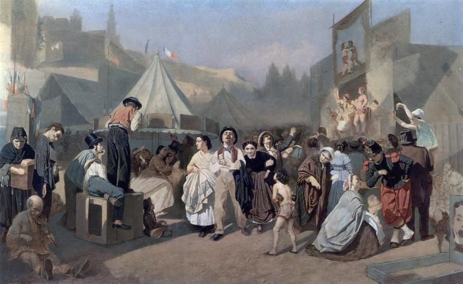 Праздник в окрестностях Парижа (На Монмартре). (Неоконч.) 1863-64 Х., м. 79,5х130 ГТГ