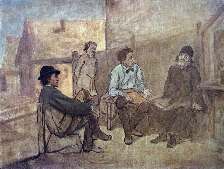 Разговор студентов с монахом. 1871 Х., м. 53,5х71,5 ГТГ