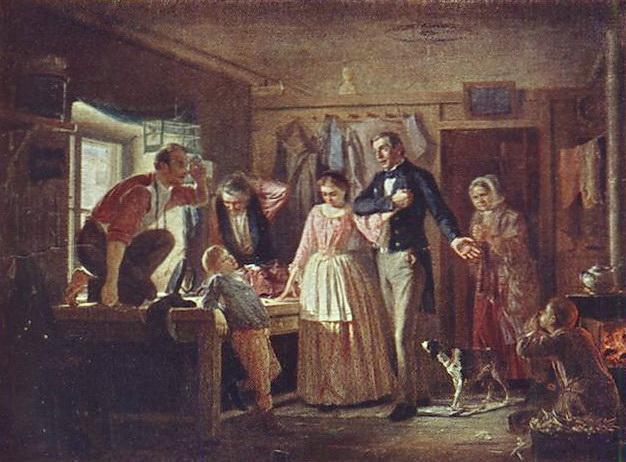 Сватовство чиновника к дочери портного. 1862 ГТГ