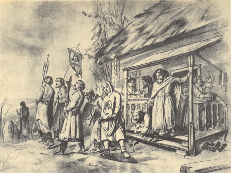 Сельский крестный ход на Пасхе. Эскиз картины. 1860. ГРМ
