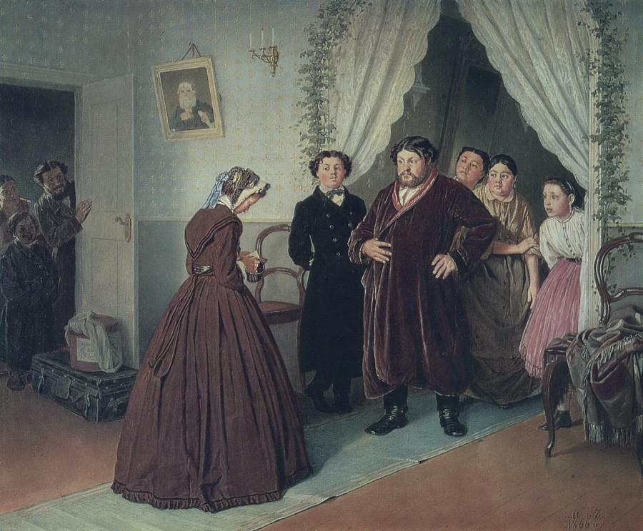 2 Приезд гувернантки в купеческий дом. 1866 Х., м. 44х53,3 ГТГ
