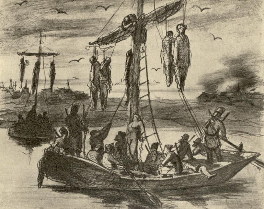Казненные пугачевцы. Рис. карандашом и пером. 1878 ГТГ