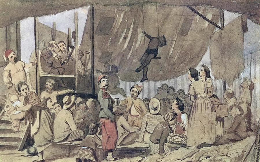 Парижское гулянье. 1863 Б. на к., акв. 15,2х23,8 ГТГ