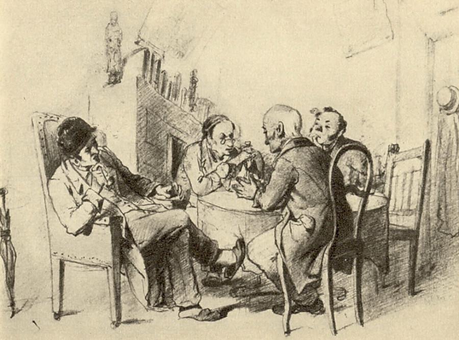 Политики. Рисунок карандашом. 1863 ГТГ