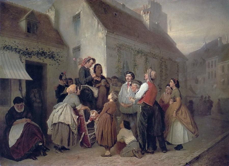 Продавец песенников. (Неоконч.) 1863-64 Х., м. 76,5х102,5 ГТГ