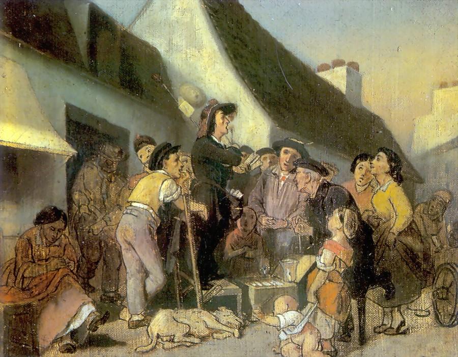 Продавец песенников. Эскиз. 1863 Х., м. 21х16 Казань