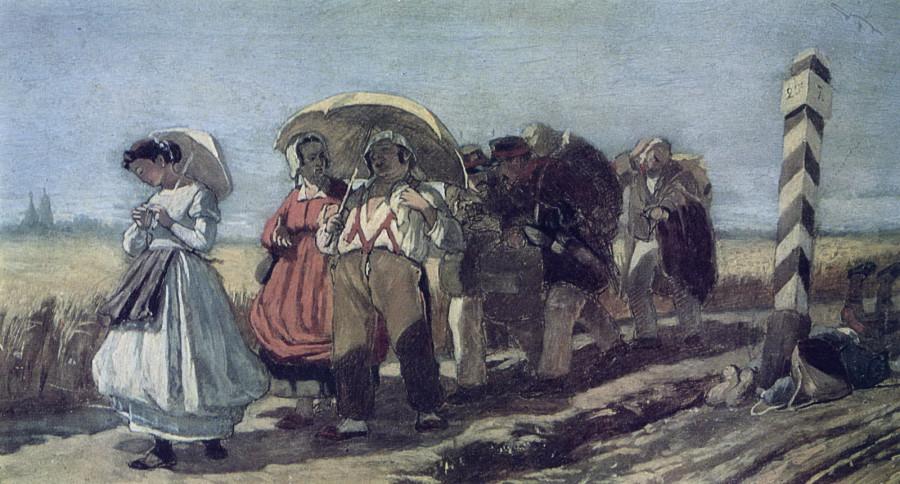 Путешествие квартального с семейством на богомолье. Эскиз. 1868(q) Х., м. 18,9х32,2 ГТГ