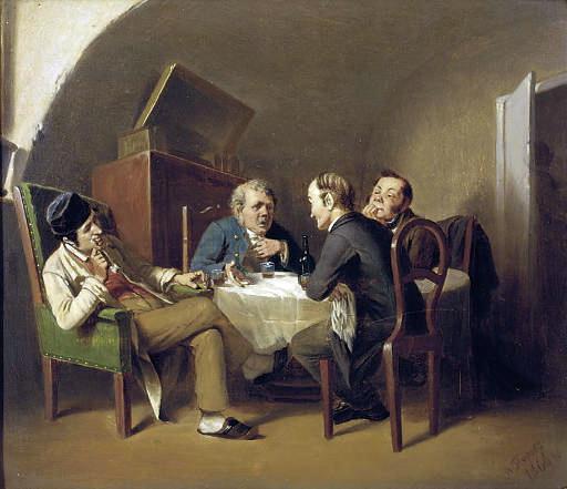 Разговор за круглым столом. 1866 Доска, масло. 18.1х21.5