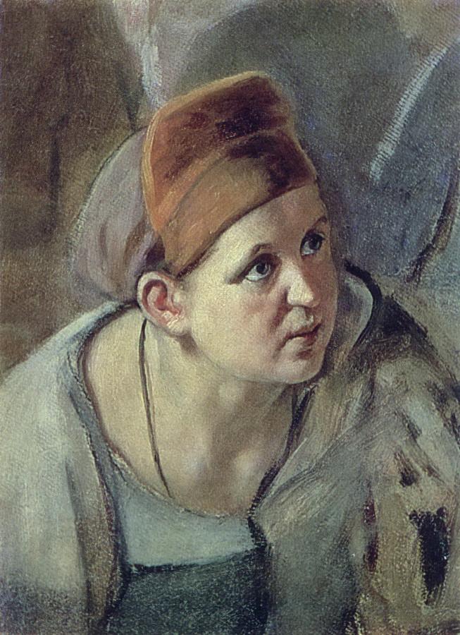 Склоненная женская фигура. Б. на к., м. 26,5х18,5 КМРИ