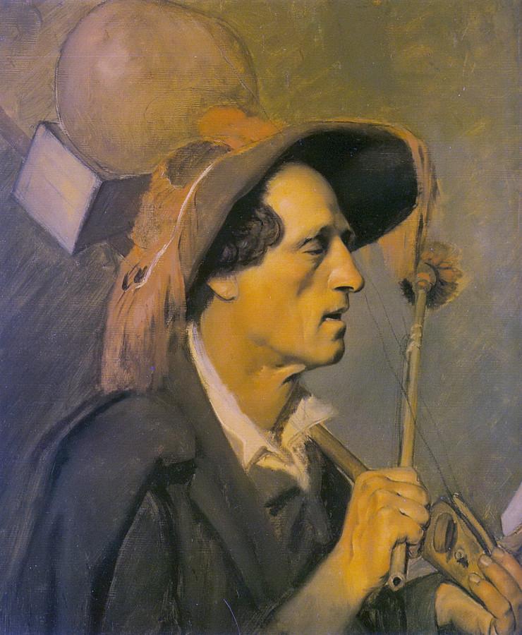 Слепой музыкант. Ок.1864 (Эт.к.'Продавец песенников в Париже',ГТГ). Х.,м.55,5х48 ГТГ