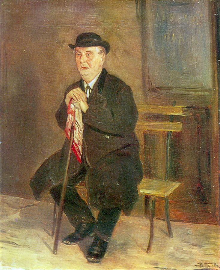 Старик на скамейке. 1880-е. Х., м. 36х29 Ростов-на-Дону