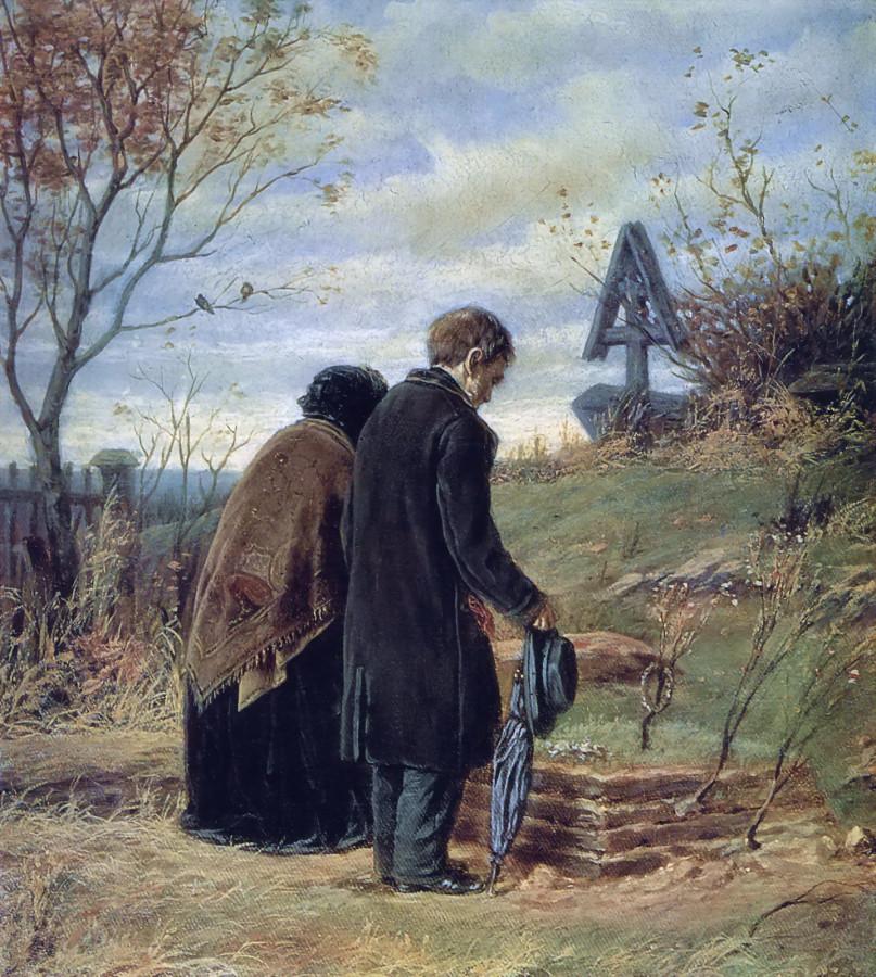 Старики-родители на могиле сына. 1874 Х., м. 42х37,5 ГТГ