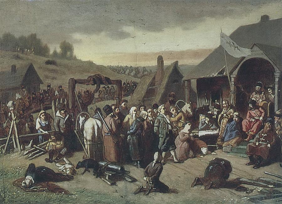 Суд Пугачева. Эск. картины 1875 г. из ГИМ. Х.,м. 30,3х43 ГТГ
