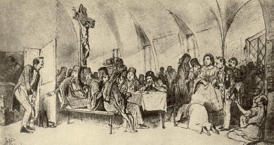 Трапеза. Эскиз картины того же названия, находящейся в Государственном Русском музее. Рисунок карандашом. 1865 ГТГ