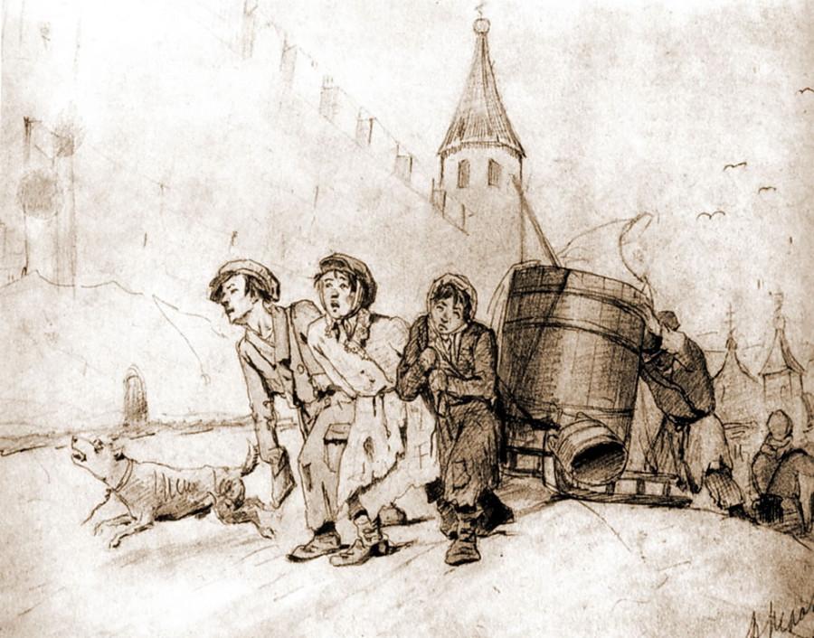 Тройка. Бумага, 15,7х31. 1865. ГТГ