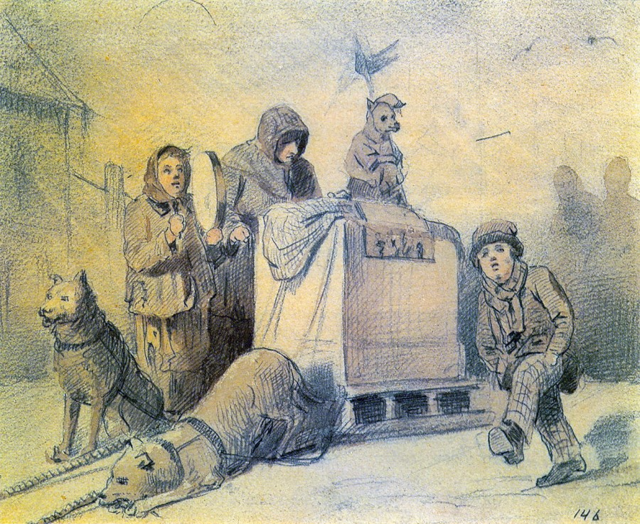 Уличные музыканты в Париже. 1863 Б., гр. к., акв. 14х17. ГТГ