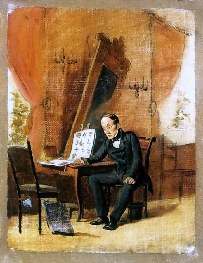 Учитель рисования. Эск. 1863 Х., м. 25.5х18 Иваново