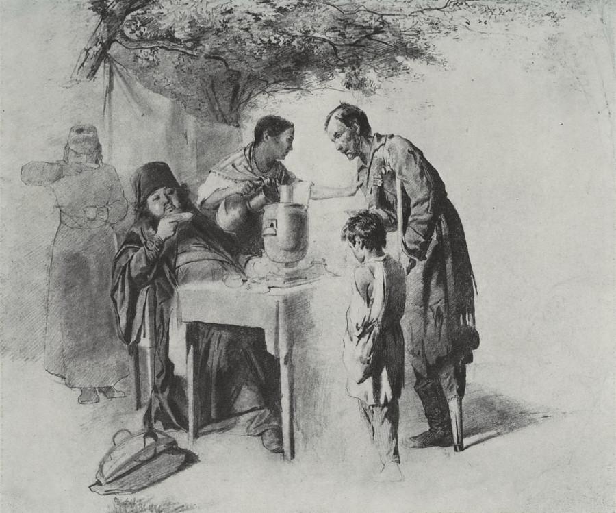 Чаепитие в Мытищах, близ Москвы. 1862 Рис. 31х37,5 ГТГ