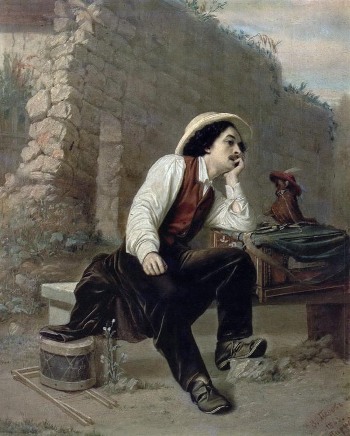 Шарманщик. 1863 Д., м 30,5х25 ГТГ