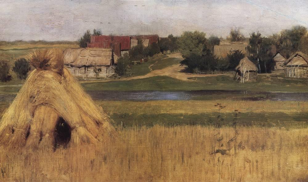 Снопы и деревня за рекой. Начало 1880-х