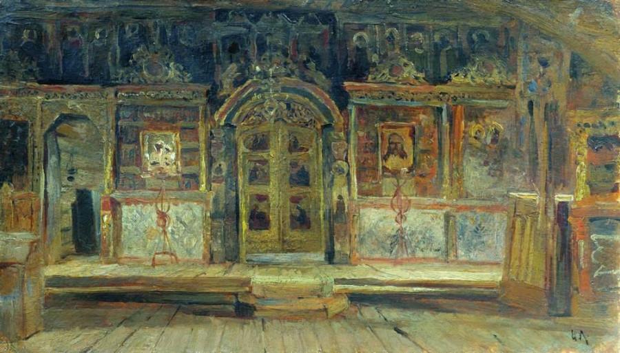 Внутри Петропавловской церкви в Плёсе, на Волге. 1888