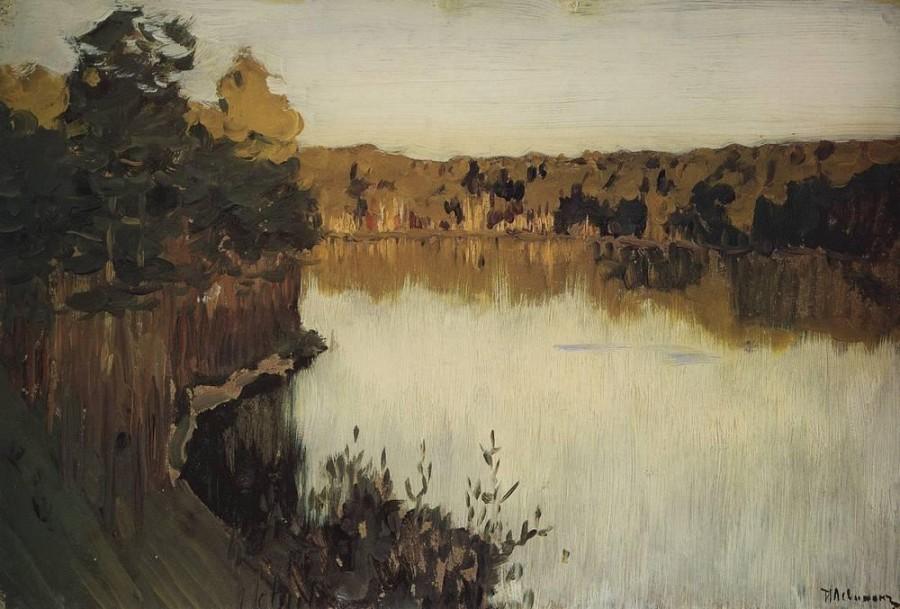 Лесное озеро. Заход солнца. 1890-е