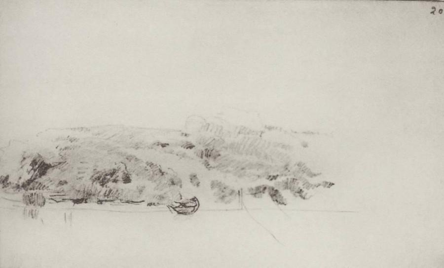 Высокий берег реки с лодкой и намеченным мостиком. 1890