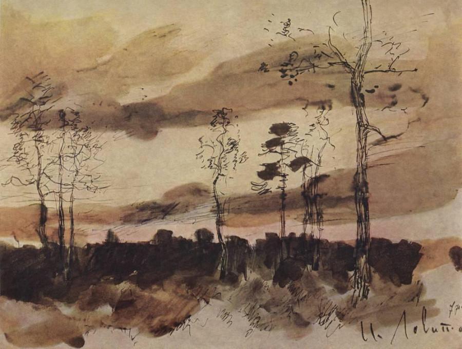 Закат. Опушка леса. 1900