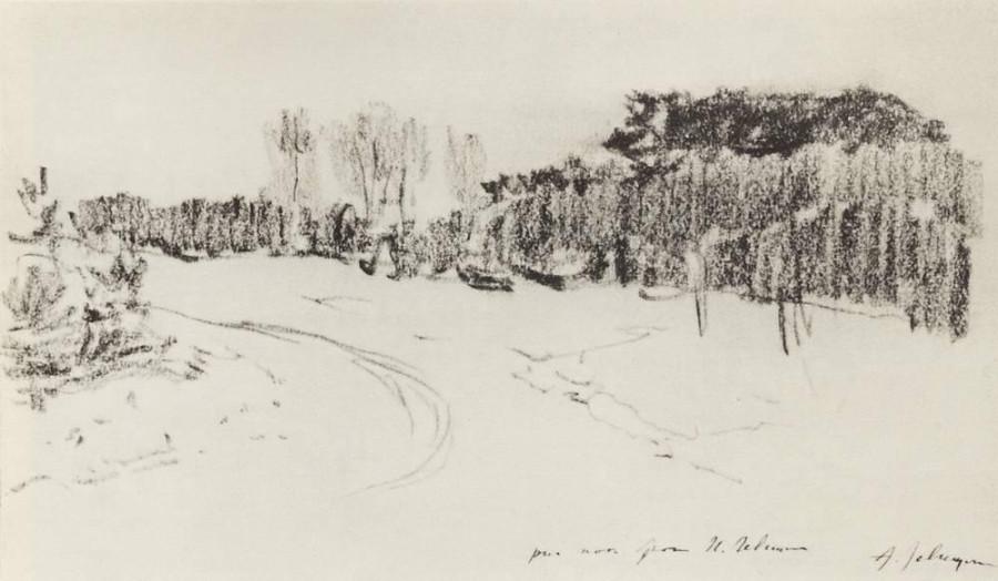 Зимняя дорога в лесу. 1899-1900