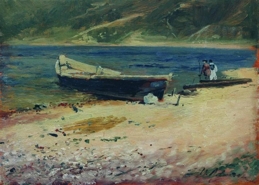 Лодка на берегу. 1880-е