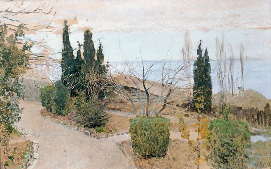Садик в Ялте. Кипарисы. 1886