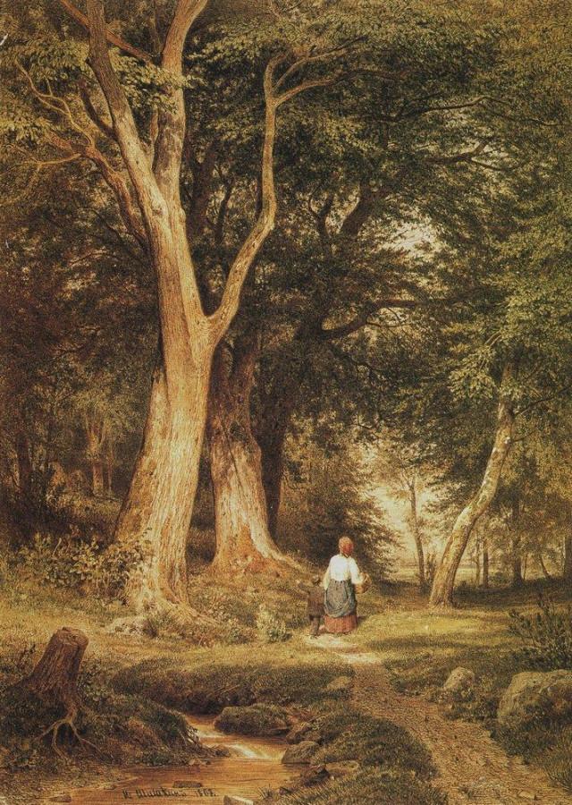 Женщина с мальчиком в лесу. 1868.jpg