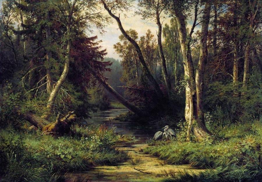 Лесной пейзаж с цаплями. 1870.jpg