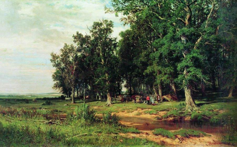 На покосе в дубовой роще. 1874.jpg