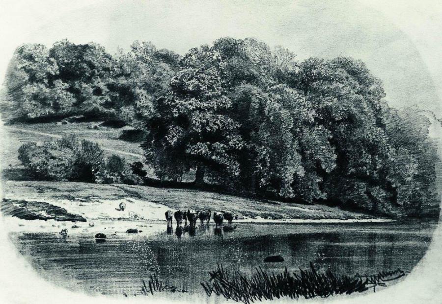 Стадо на берегу реки. 1870-е.jpg