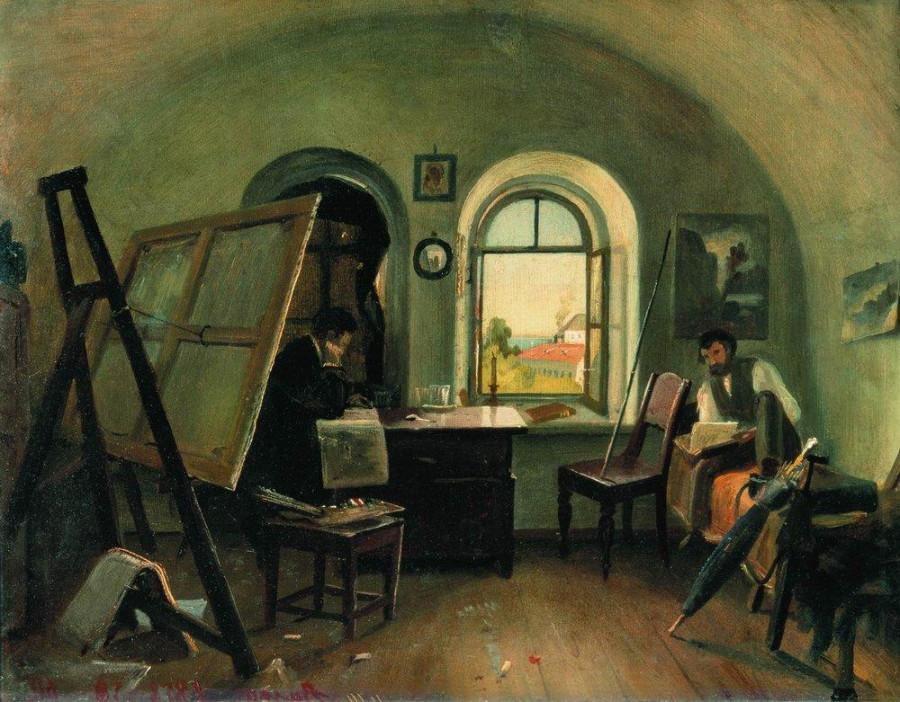 И.И.Шишкин и А.В.Гине в мастерской на острове Валааме. 1860