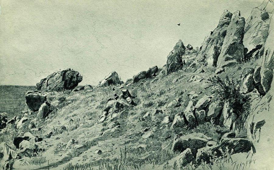 Скалы на берегу моря. Гурзуф. 1879