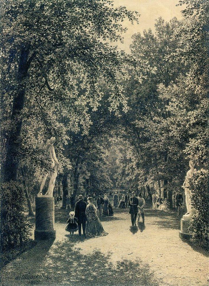 Аллея Летнего сада в Петербурге. 1869