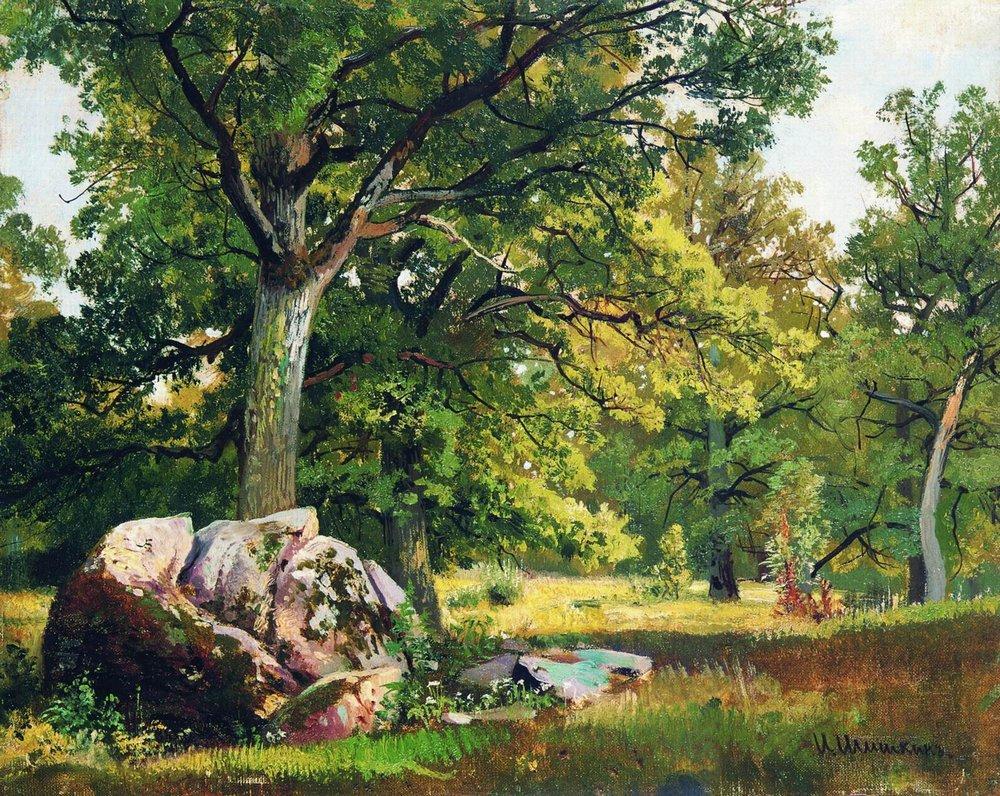 Солнечный день в лесу. Дубы. 1891