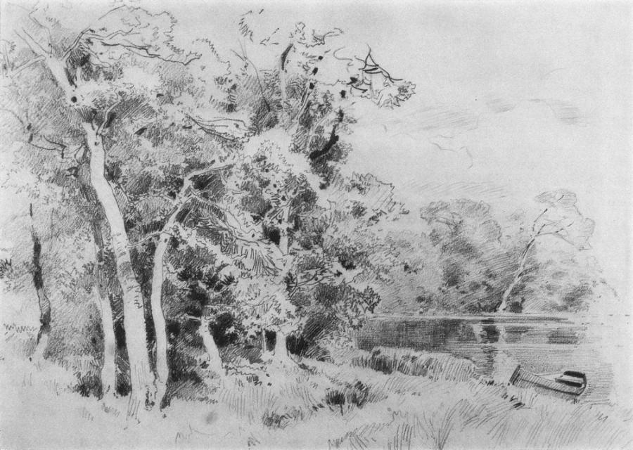 Роща на берегу пруда. 1870-е