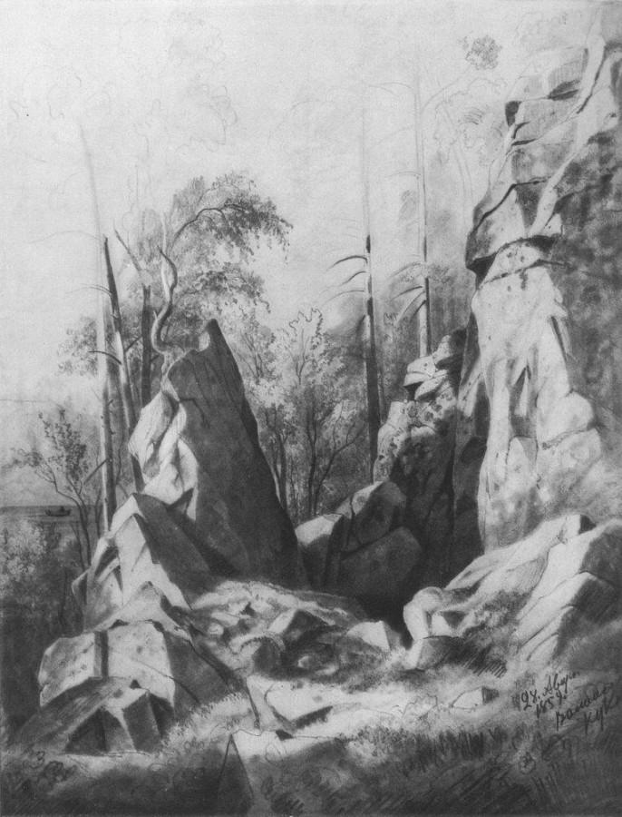 Скалы на острове Валааме. Кукко. 1859