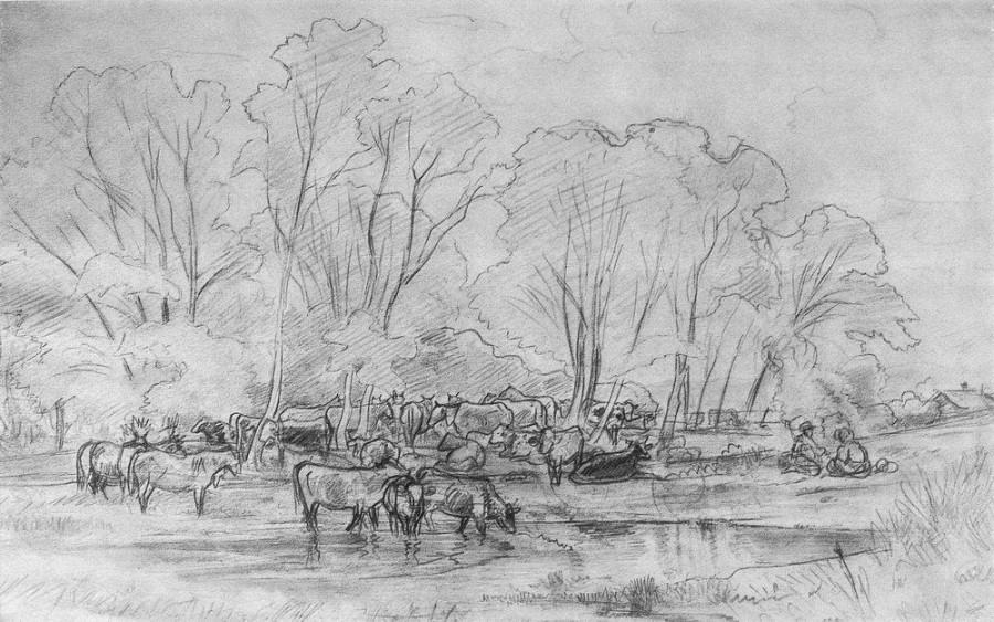 Стадо у ручья. 1870-е