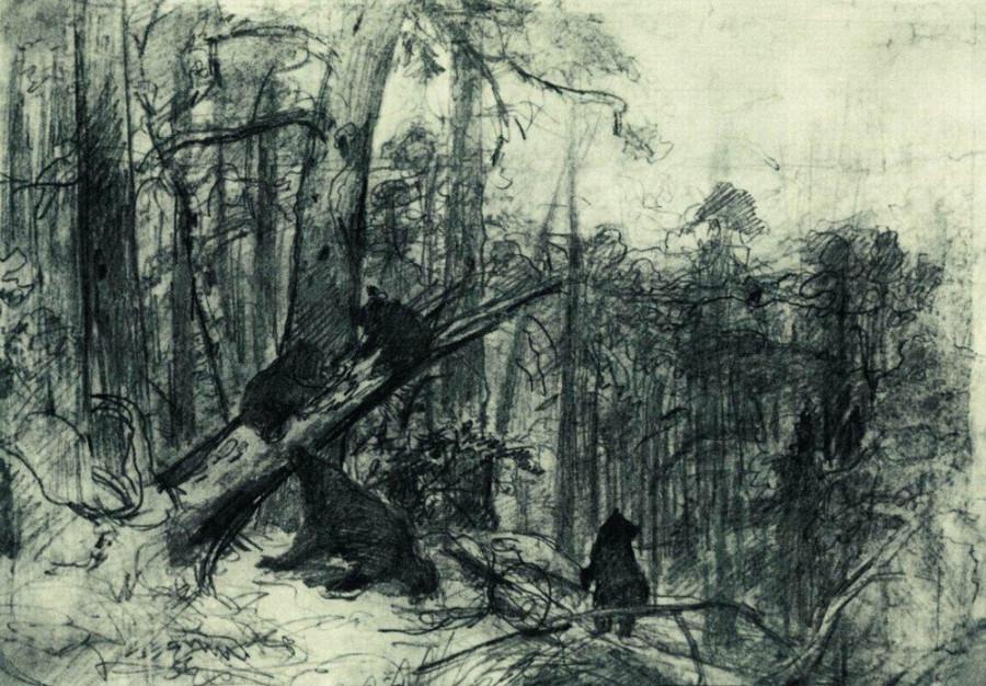 Утро в сосновом лесу. Конец2 1880-х