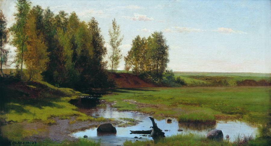 Летний пейзаж с ручьем