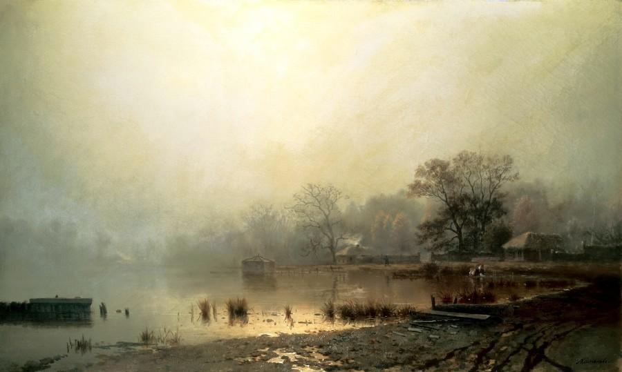 Туман. Красный пруд в Москве осенью. 1871